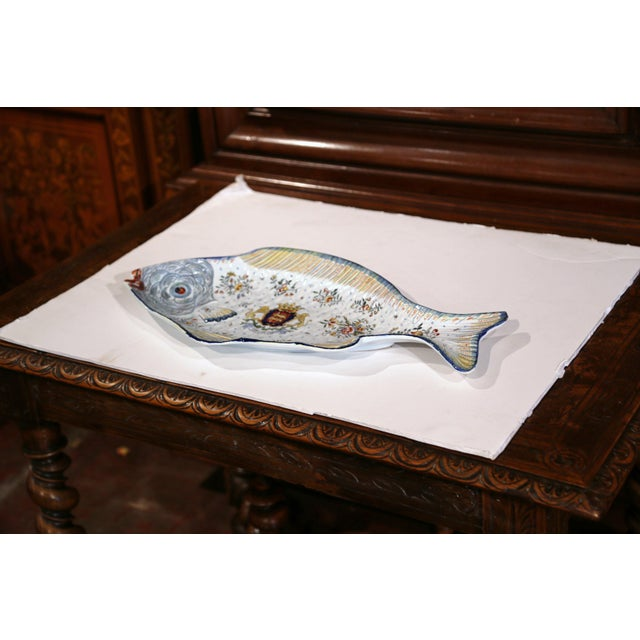 Ceramic Early 20th Century French Hand-Painted Faience Fish Platter From Normandy For Sale - Image 7 of 10