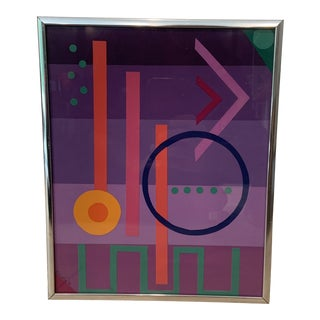 1982 Postmodern Memphis Style Geometric Collage, Framed For Sale