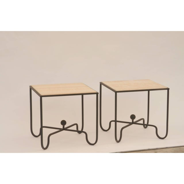 "Brown Contemporary ""Entretoise"" Design Frères Wrought Iron and Onyx Side Tables - a Pair For Sale - Image 8 of 8"