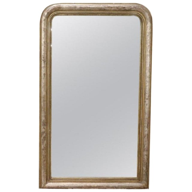 19th Century Italian Golden and Silver Wood Antique Wall Mirror For Sale