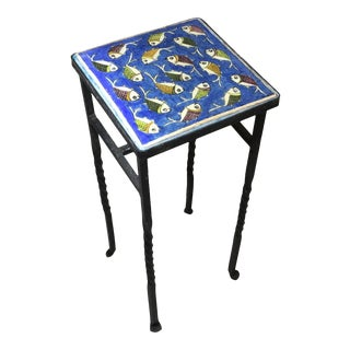 1960s Persian Blue Tile Side Table For Sale