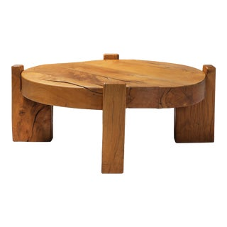 Solid Oak Round Coffee Table For Sale