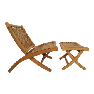 Mid-Century Modern Folding Rope Chair For Sale
