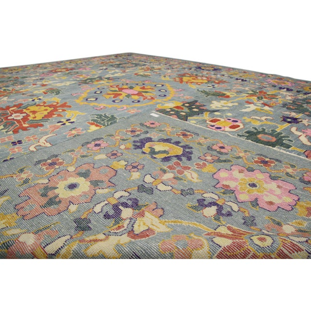 2010s New Colorful Turkish Oushak Rug With Modern Contemporary Style For Sale - Image 5 of 6