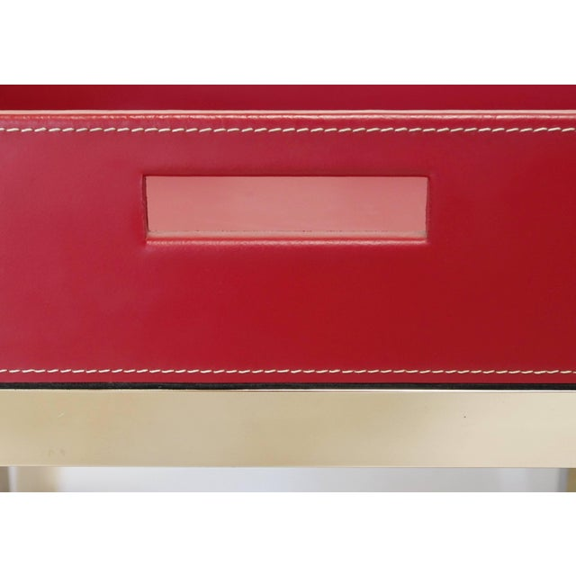 Early 21st Century Red Leather and Stainless Steel Tray Table by Fabio Ltd For Sale - Image 5 of 8