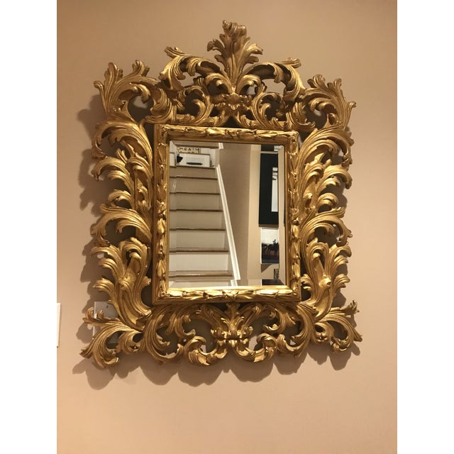 Antiqued Art Deco Gold Brocade Wall Mirror For Sale - Image 11 of 11