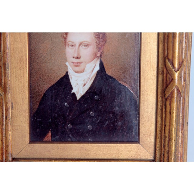 Paint Pair of Well-Painted Portrait Miniatures / Handsome English Regency Gentlemen For Sale - Image 7 of 13