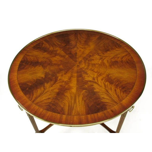 John Widdicomb John Widdicomb Regency Center Table with Crotch Mahogany Parquetry Top For Sale - Image 4 of 11