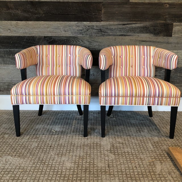 Textile Boho Chic Colorful Striped Barrel Chairs - a Pair For Sale - Image 7 of 11