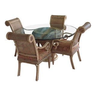 "Tommy Bahama Style Wicker/Ratan-Upholstered-60"" Glass Beveled Top Dining Set"