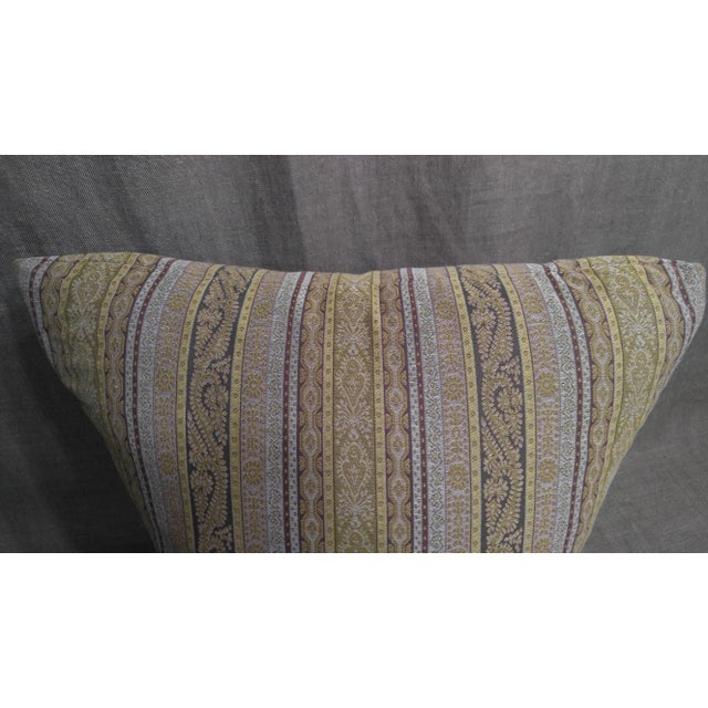 "Throw pillow made with ""Etro"" paisley stripe fabric, with down and feather insert. 24""x24"""