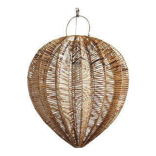 Honey Rattan Starfruit Lantern Medium For Sale