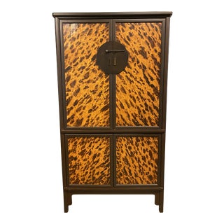 Bamboo + Animal Print Media Armoire For Sale