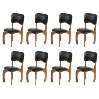 1960s Mid-Century Modern Don Shoemaker Cocobolo and Leather Dining Chairs - Set of 8 For Sale