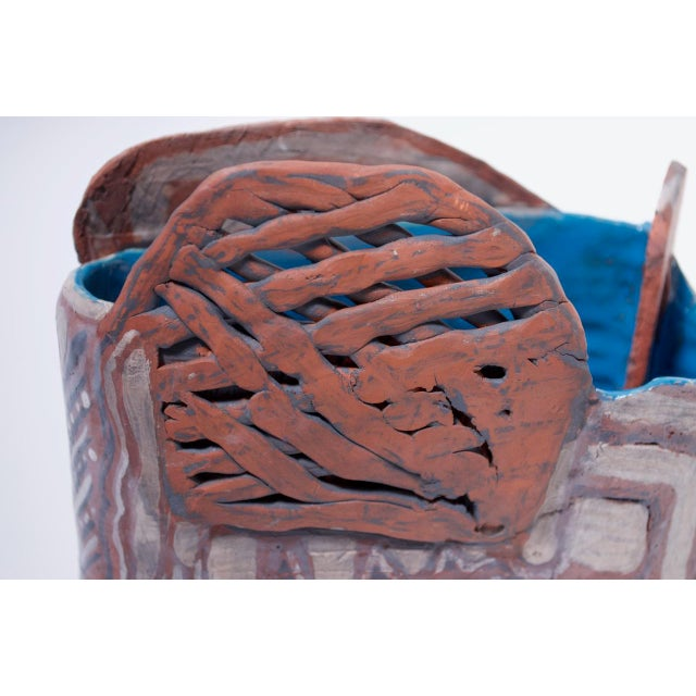 Crude Terracotta Catch-All / Vase With Applied Details Signed For Sale - Image 9 of 13