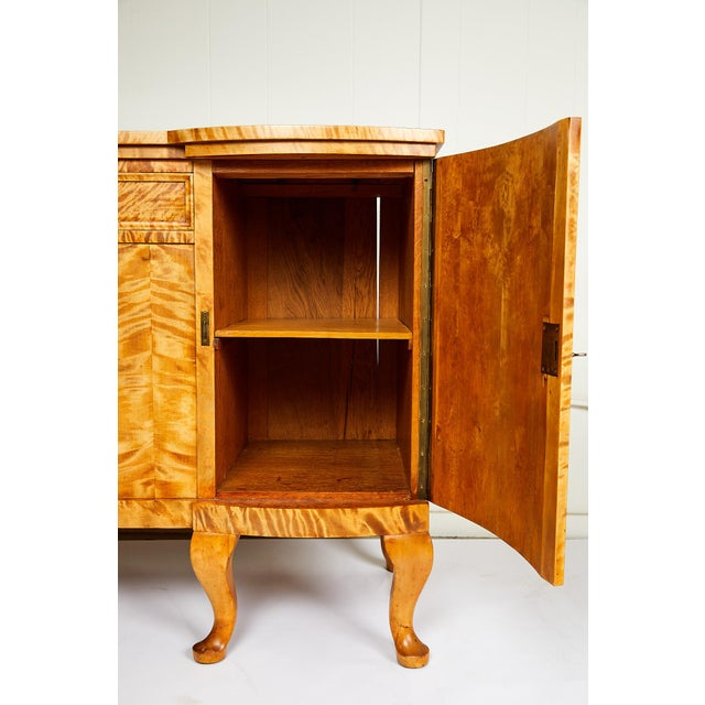 Swedish Art Deco Sideboard of Bookmatched Golden Flame Birch For Sale - Image 10 of 13
