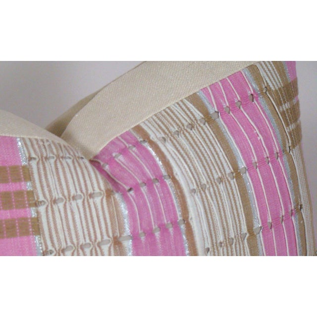 African Boho Chic Handwoven Aso Oke Khaki and Pink Cotton Pillow Cover For Sale - Image 4 of 11