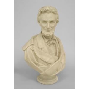 20th Century American Victorian style life-size plaster bust of Abraham Lincoln on a round pedestal base For Sale - Image 4 of 4