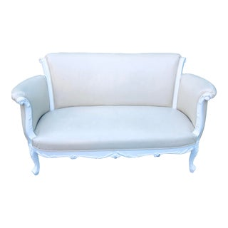 Restored White French Settee For Sale