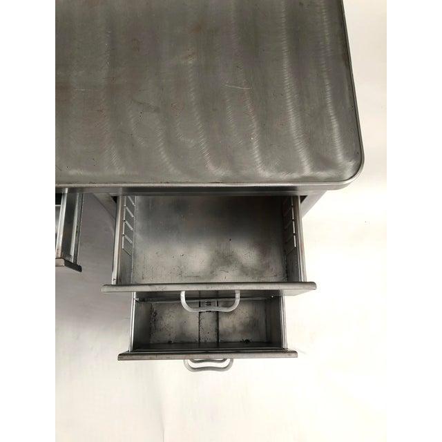 Vintage Steelcase Tanker Desk With Brushed Steel Surface For Sale - Image 11 of 12