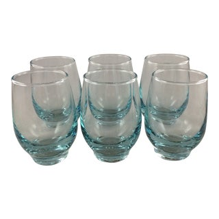 Libbey Aqua Blue Tempo Juice Glasses Midcentury - Set of 6 For Sale