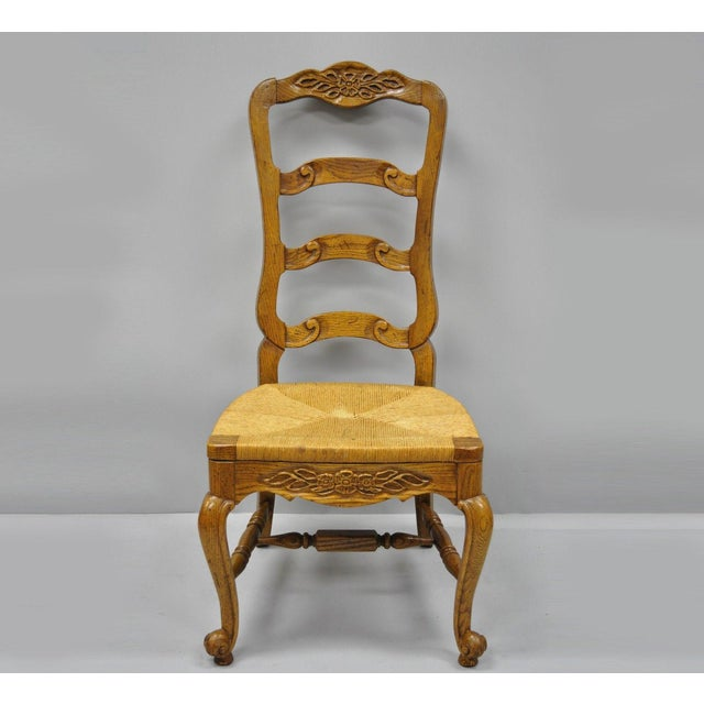 Bernhardt Country French Woven Rush Seat Oak Wood Ladder Back Dining Chair For Sale - Image 13 of 13