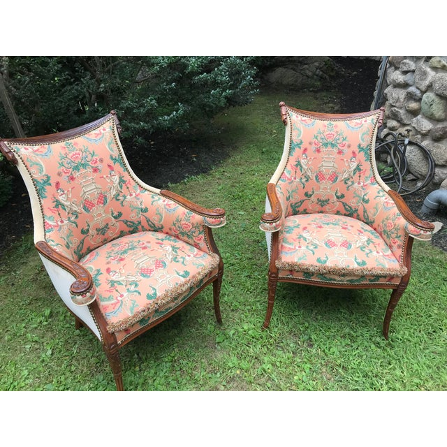 French 1930's French Accent Chairs - aPair For Sale - Image 3 of 4