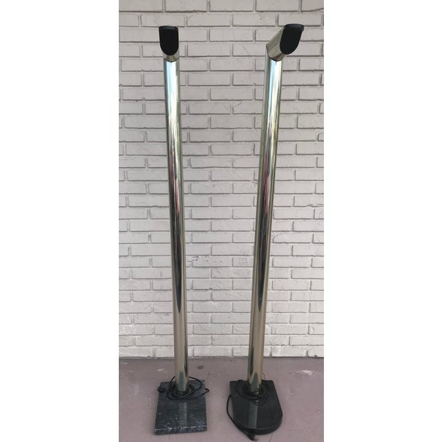 1970s Mid Century Modern Gold Floor Lamps on Black Marble Bases - a Pair For Sale - Image 4 of 13