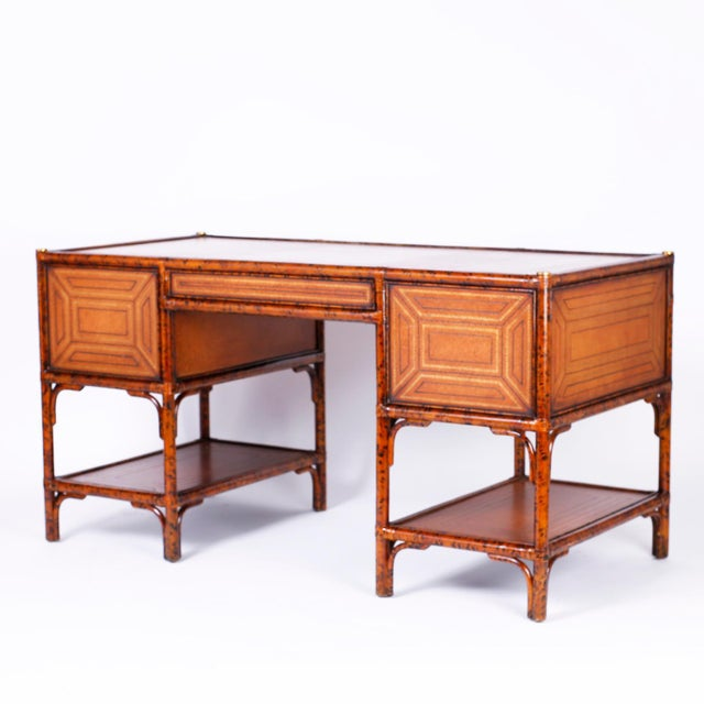 British Colonial Midcentury Faux Tortoise Leather Topped Desk by Maitland-Smith For Sale - Image 3 of 10