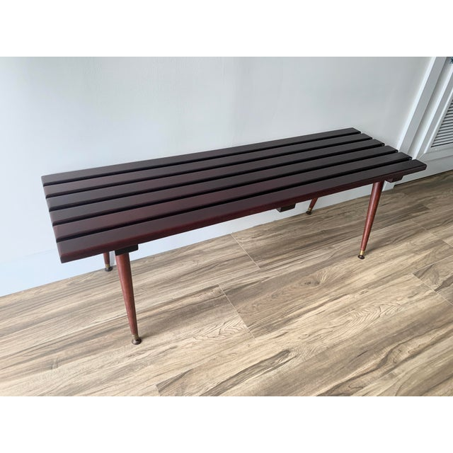 Mid Century Refinished Slat Bench For Sale - Image 10 of 10