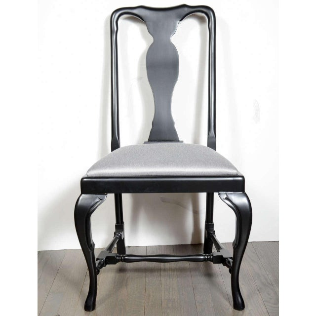 Set of six Mid-Century dining chairs by Jansen in ebonized walnut with seat in metallic platinum sharkskin upholstery....