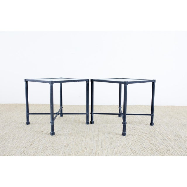 Neoclassical style cube shaped drink tables made by Brown Jordan constructed from powder-coated aluminum with a frosted...