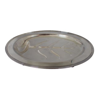 Midcentury Silver Plate Meat Tray For Sale