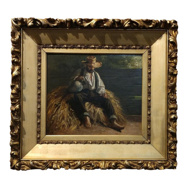 Rest From the Harvest -Original 19th Century Oil Painting -Signed - Image 1 of 9