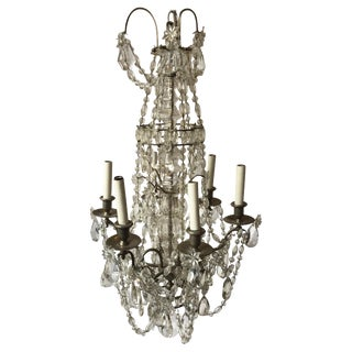 1940s French 6-Arm Crystal Chandelier For Sale