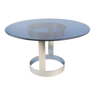 Blue Glass & Chrome Center Table