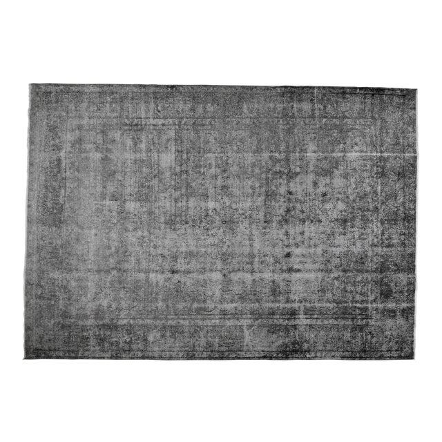 "1940s Boho Chic Persian Gray Wool Kerman Rug - 9'6""x13'8"" For Sale"
