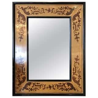 Victorian Mahogany Mirror With Inlaid Design For Sale