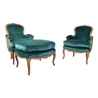 Baker Furniture Louis XV Style Bergere Lounge Chairs With Ottoman in Velvet For Sale