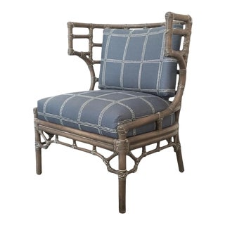 Palecek Rattan Klismos Lounge Chair For Sale