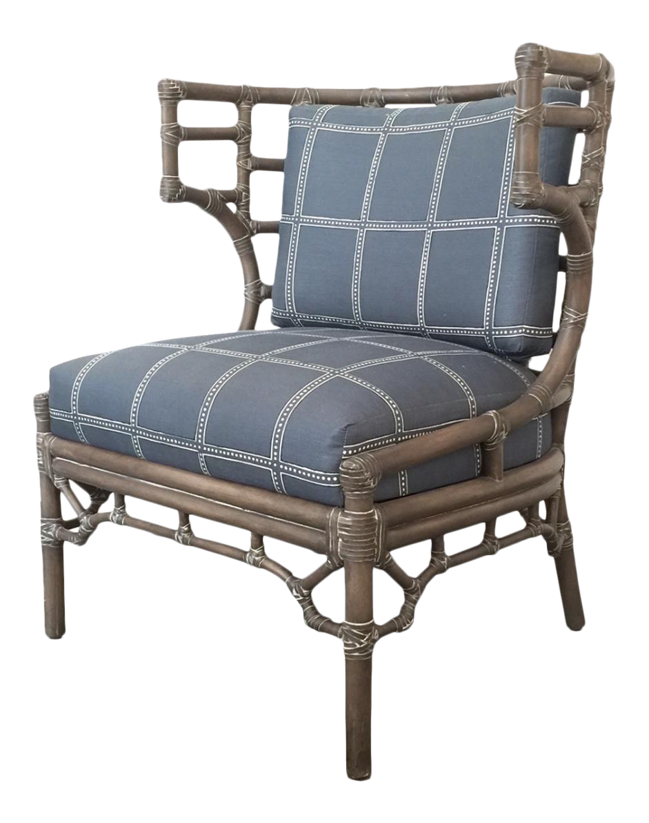 Palecek Rattan Klismos Lounge Chair For Sale