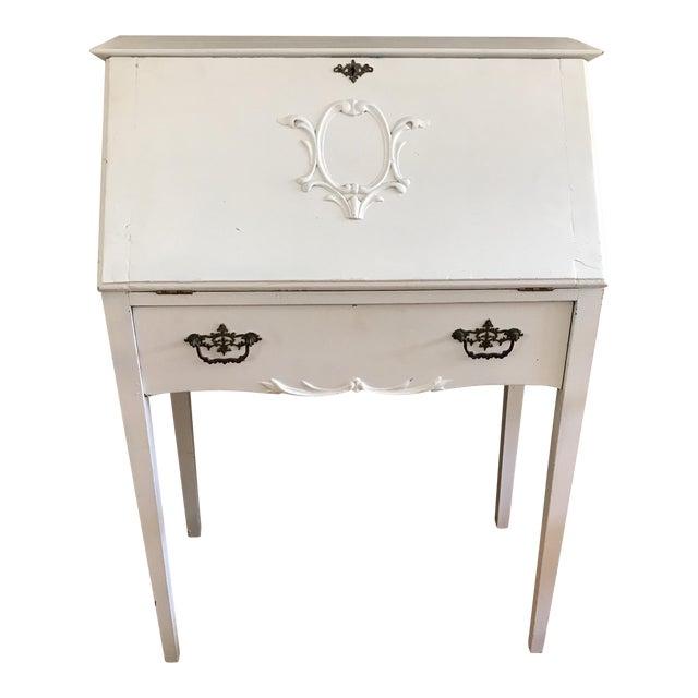 Distressed White Secretary Desk - Image 1 of 10