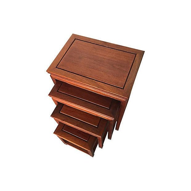 Chinese Rosewood Asian Nesting Tables - Set of 4 For Sale - Image 4 of 5