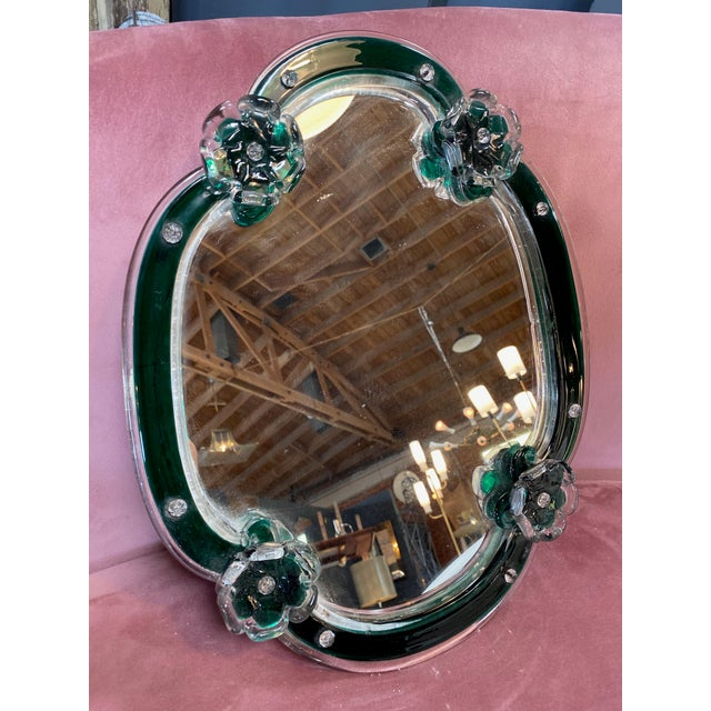 Glass 1950s Mid Century Modern Vintage Wall Mirror With Flowers For Sale - Image 7 of 7