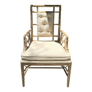 Vintage Heaven's to Fretsy Solid Wood and Cane Chinese Chippendale Arm Chair For Sale