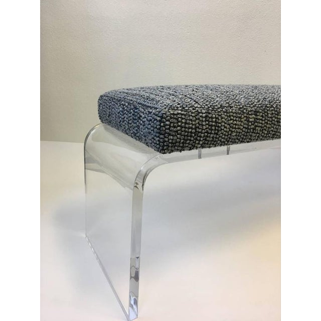 1980s Acrylic and Fabric Waterfall Bench - Image 7 of 10