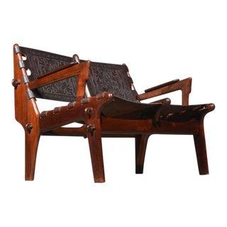 1960s Vintage Angel Pazmino for Muebles De Estilo Leather Loveseat For Sale