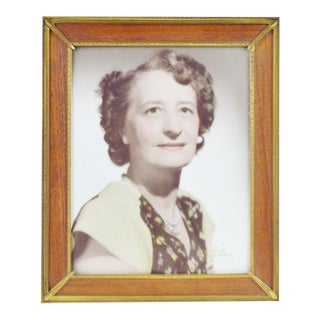 Art Deco Wood & Brass Picture Frame with Vintage Lorson Studio Portrait of Woman