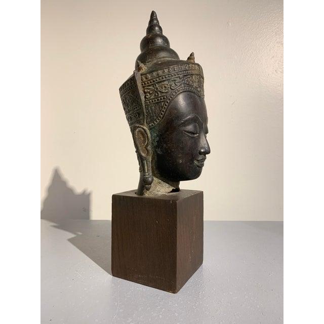 Asian Vintage Thai Ayutthaya Style Bronze Buddha Head For Sale - Image 3 of 11