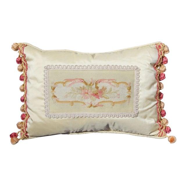 19th C. French Aubusson Silk Pillow For Sale